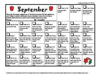 Articulation daily Homework practice calendars speech