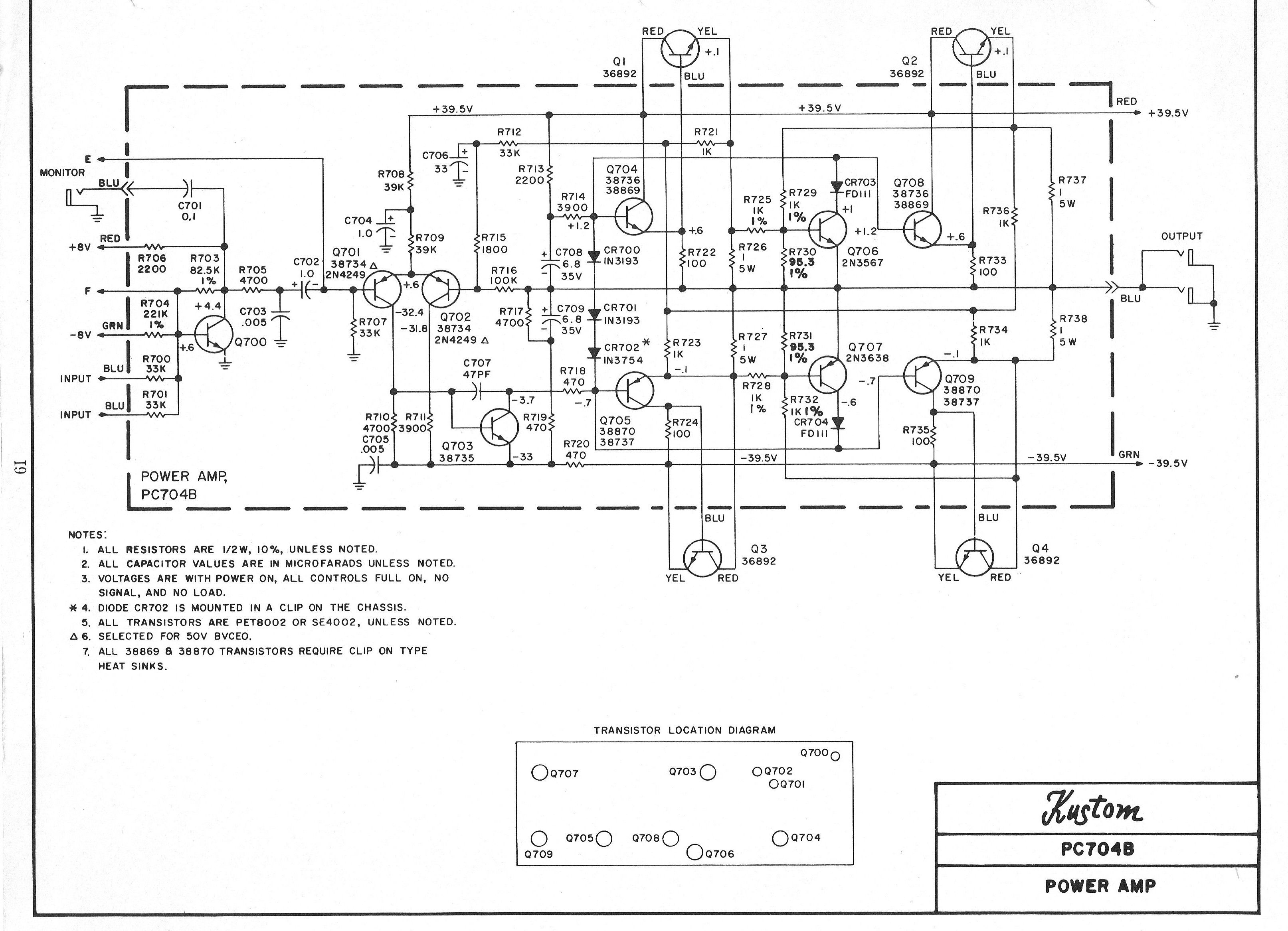 Kustom Amplifier Schematic