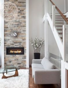 like the fireplace  lot too modern living room by rectangle design inc also love stone especially stretched to ceiling rh pinterest
