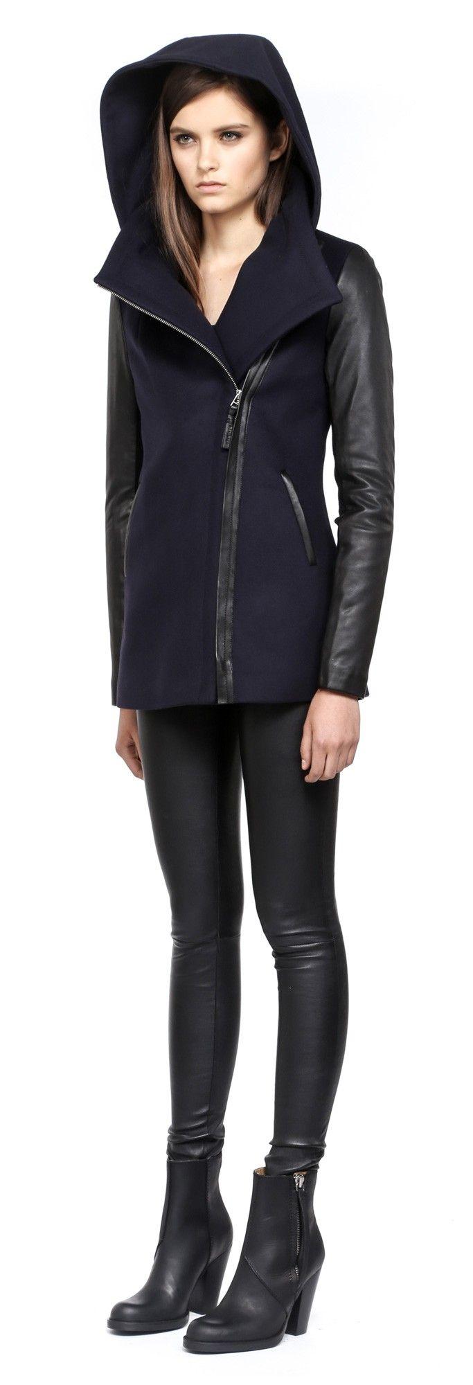 Wool Jacket Leather Sleeves