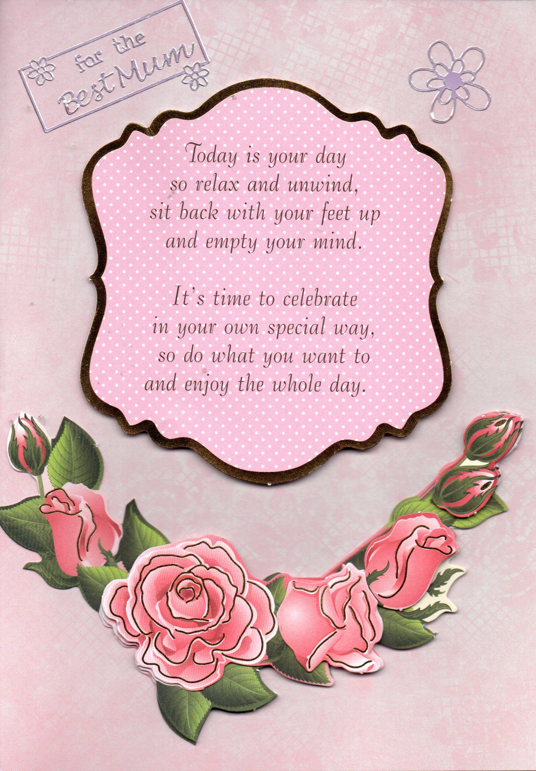 Pink Roses Handmade Card Featuring The Message 'for The