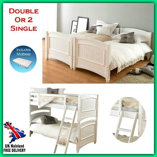 Double Kids Bunk Beds With Mattresses Stairs White Child Junior Bed Single Solid