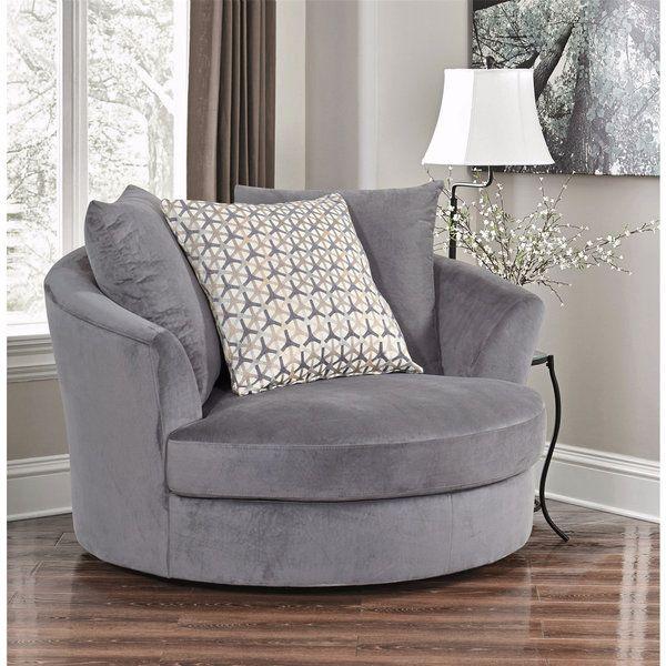 Abbyson Tanya Grey Fabric Round Swivel Chair  Lady Lair