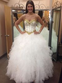 Long Puffy Quinceanera Dresses 2016 White and Gold ...