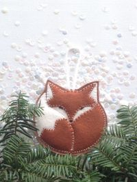FELT FOX ornament - tree ornament - handcrafted from 100% ...
