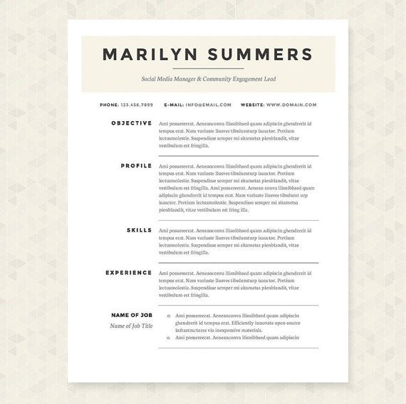 Classic Resume Cover Letter & References Template Package Resume