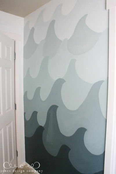 ombre painted wave wall