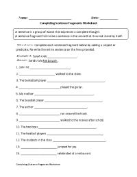 Completing Sentence Fragments Worksheet | Englishlinx.com ...