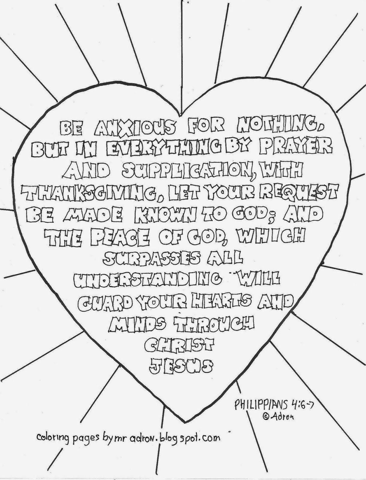 Be anxious for nothing, Philippins 4:6-7 coloring page