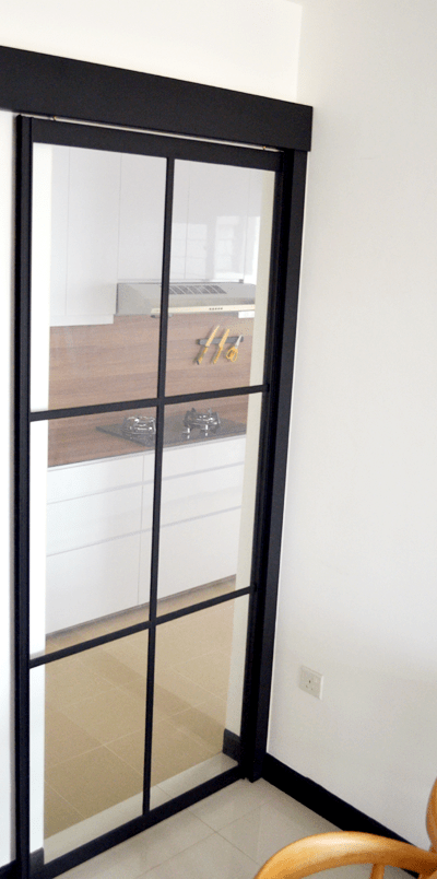 black powder coated aluminium frame kitchen sliding door