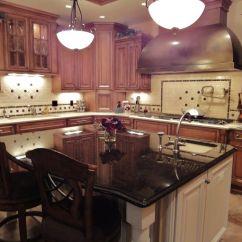 Cherry Wood Kitchen Island Dining Set Cherrywood Cabinets Dark Granite White