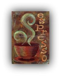 Espresso painting, Original, Coffee wall art, Coffee cup ...