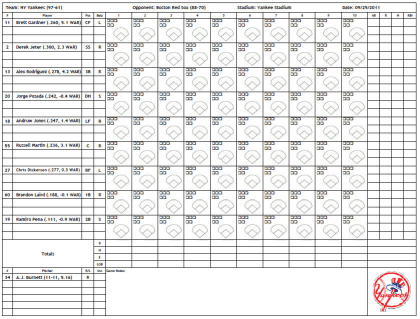 Printable Baseball Scorecard Template Pictures to Pin on