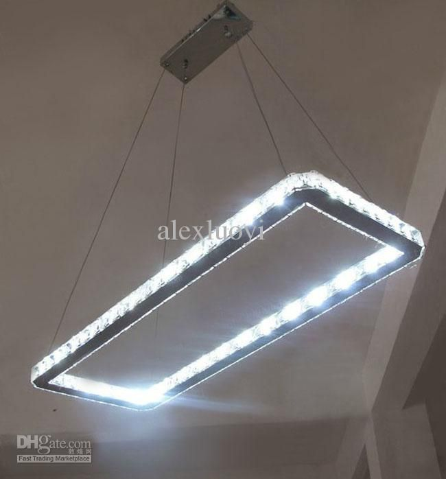 Whole Crystal Chandelier Modern Led Rectangle Lighting Fixture 646 74 Dhgate