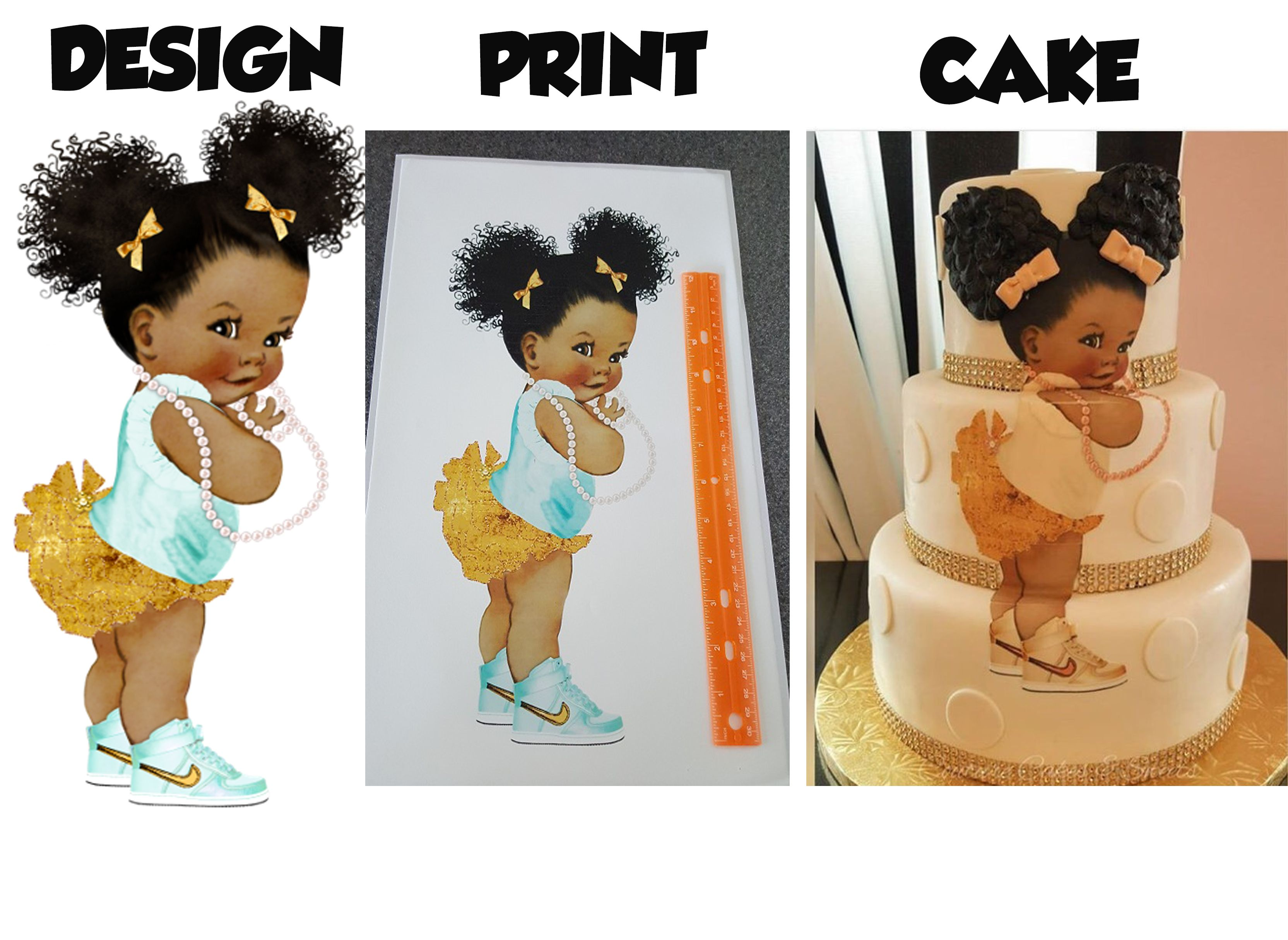 African American baby shower princess edible print for