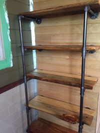 """1/2"""" Black steel pipe shelves with reclaimed Pine and ..."""