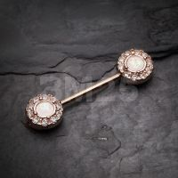 Rose Gold Opal Elegance Nipple Barbell Ring by BM25Jewelry