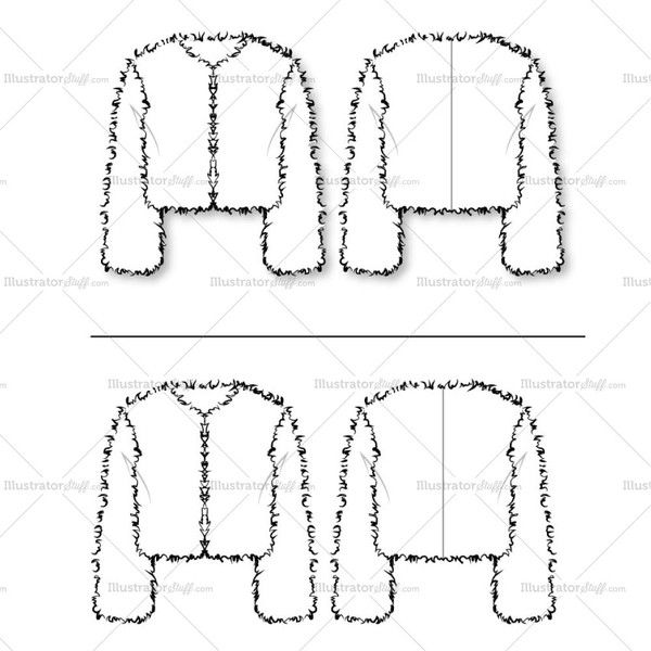 Women's Fur Chubby (cropped jacket) Fashion Flat Template