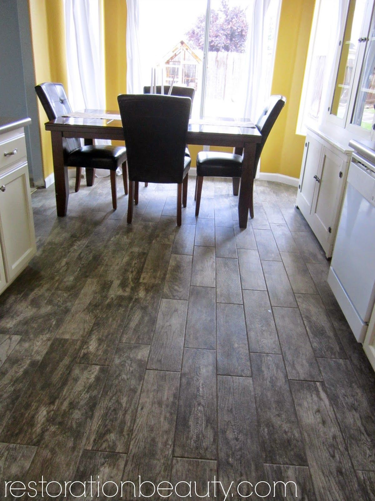 kitchen wood tile floor island with cabinets faux flooring in the beauty
