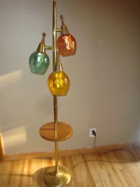 MID CENTURY MODERN FLOOR LAMP TABLE 3 GLASS GLOBES TEAK ...