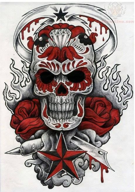 Tattoo And Sword Flash Skull Color
