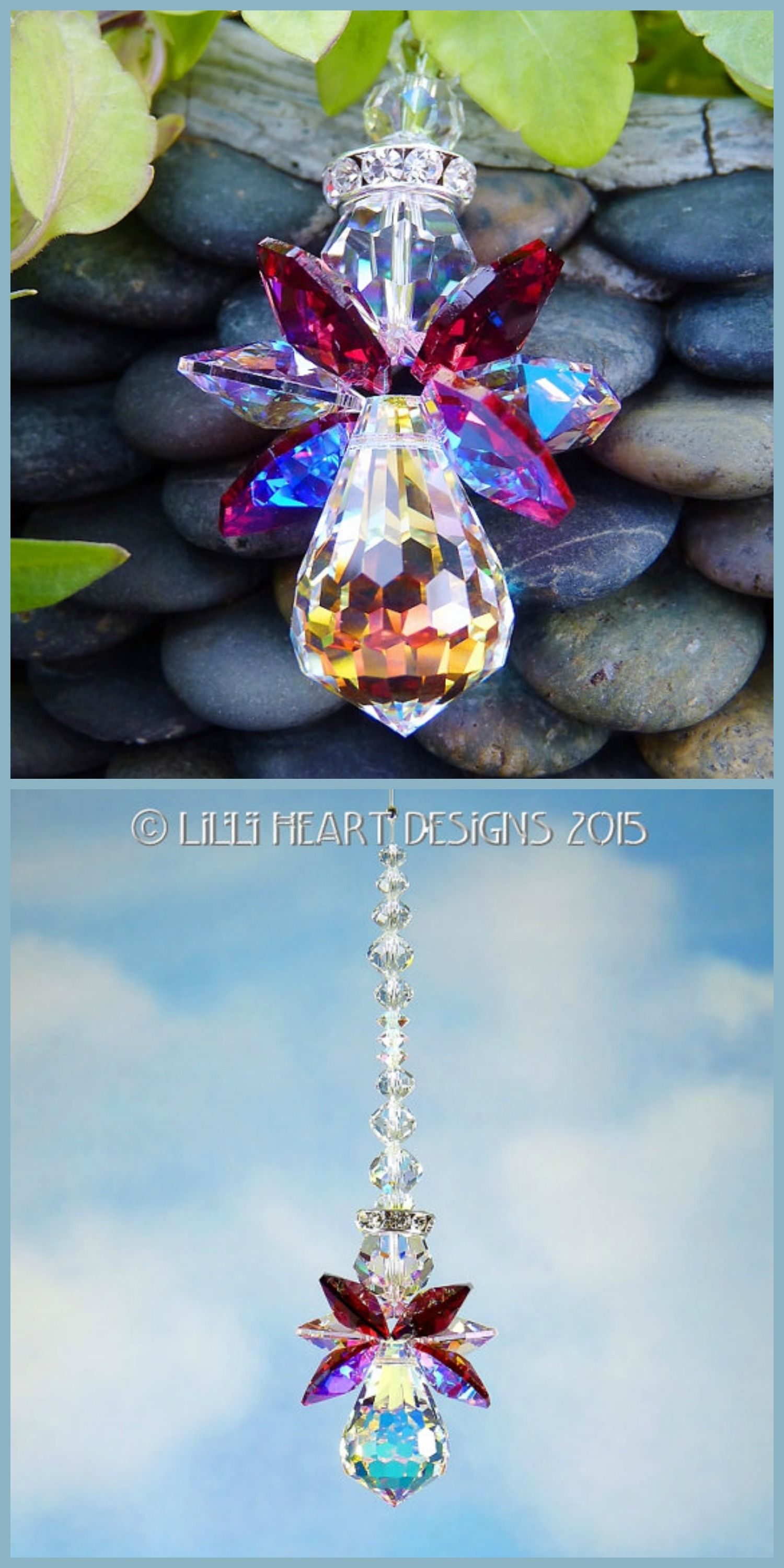 Swarovski Crystal Angel Suncatcher Car Charm Ornament