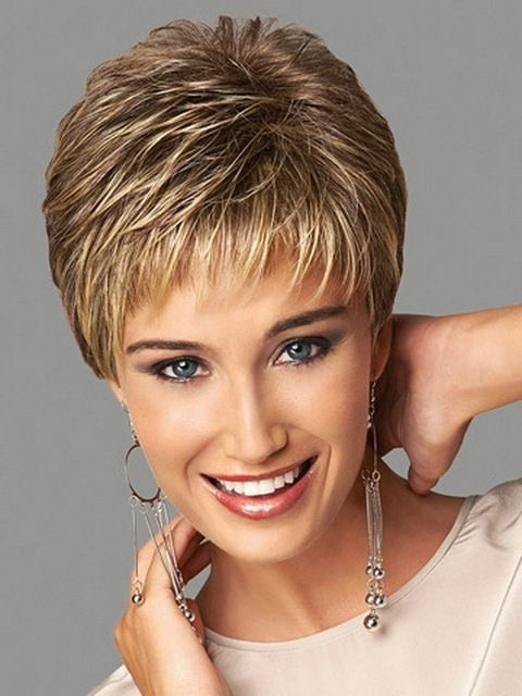 Synthetic Highlights Blonde Short Female Haircut Puffy Pelucas