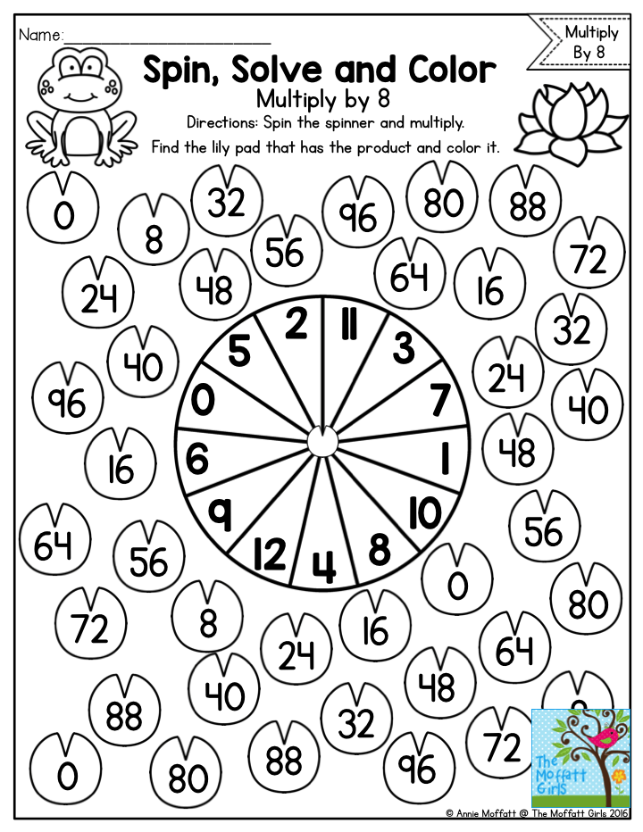 Spin, Solve and Color- such a fun way to practice