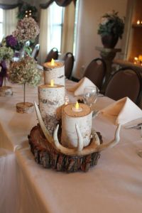 Rustic wedding table decorations: birch tree candles and ...