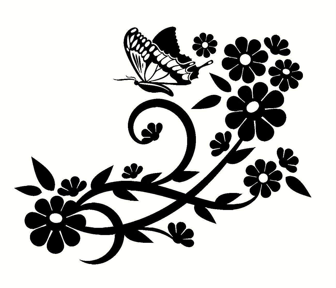Fancy Floral Designs With ButterflyCustom Made Decal, Wall