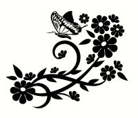 Fancy Floral Designs With ButterflyCustom Made Decal, Wall ...