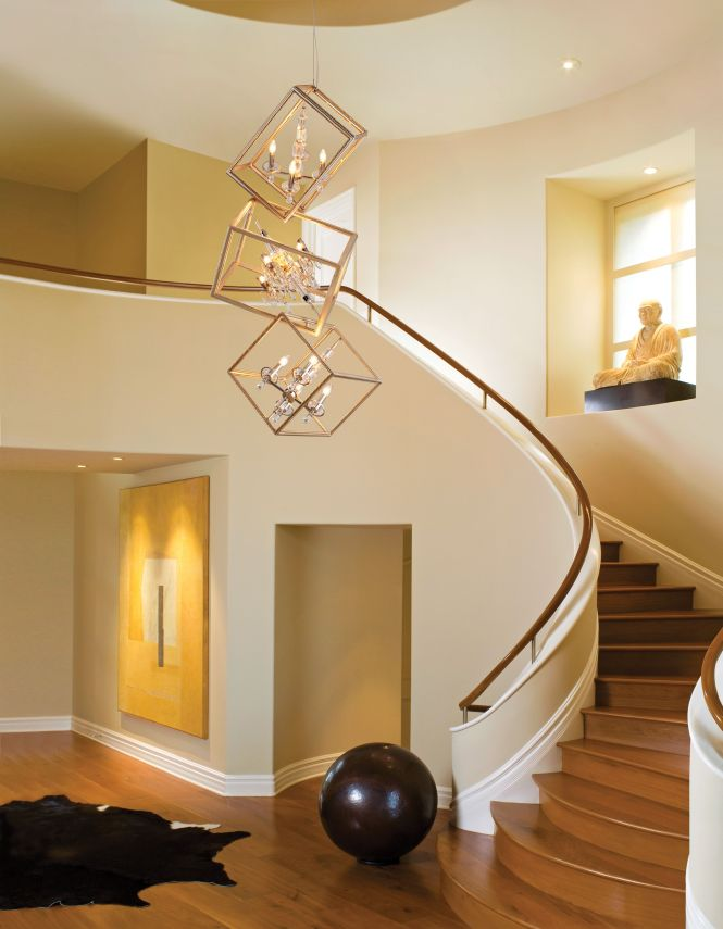Interior Modern 2 Story Entryway Lighting Design With Unique Hanging Lamp From Ceiling Above Wooden