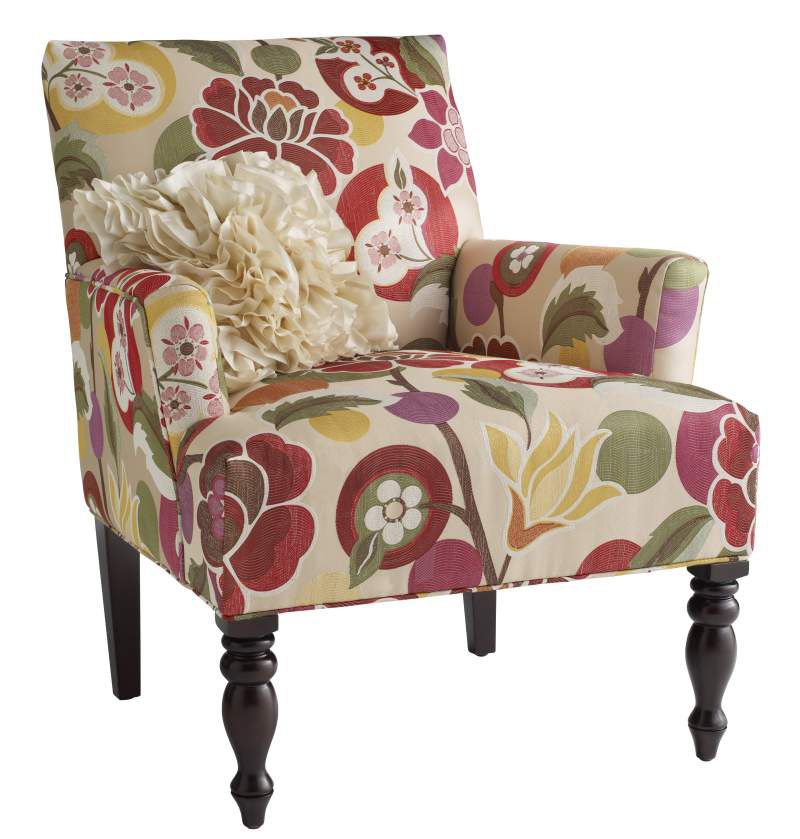 pier one import chairs navy blue velvet chair our elegant liliana armchair is amped up with a bold floral print | pinterest ...