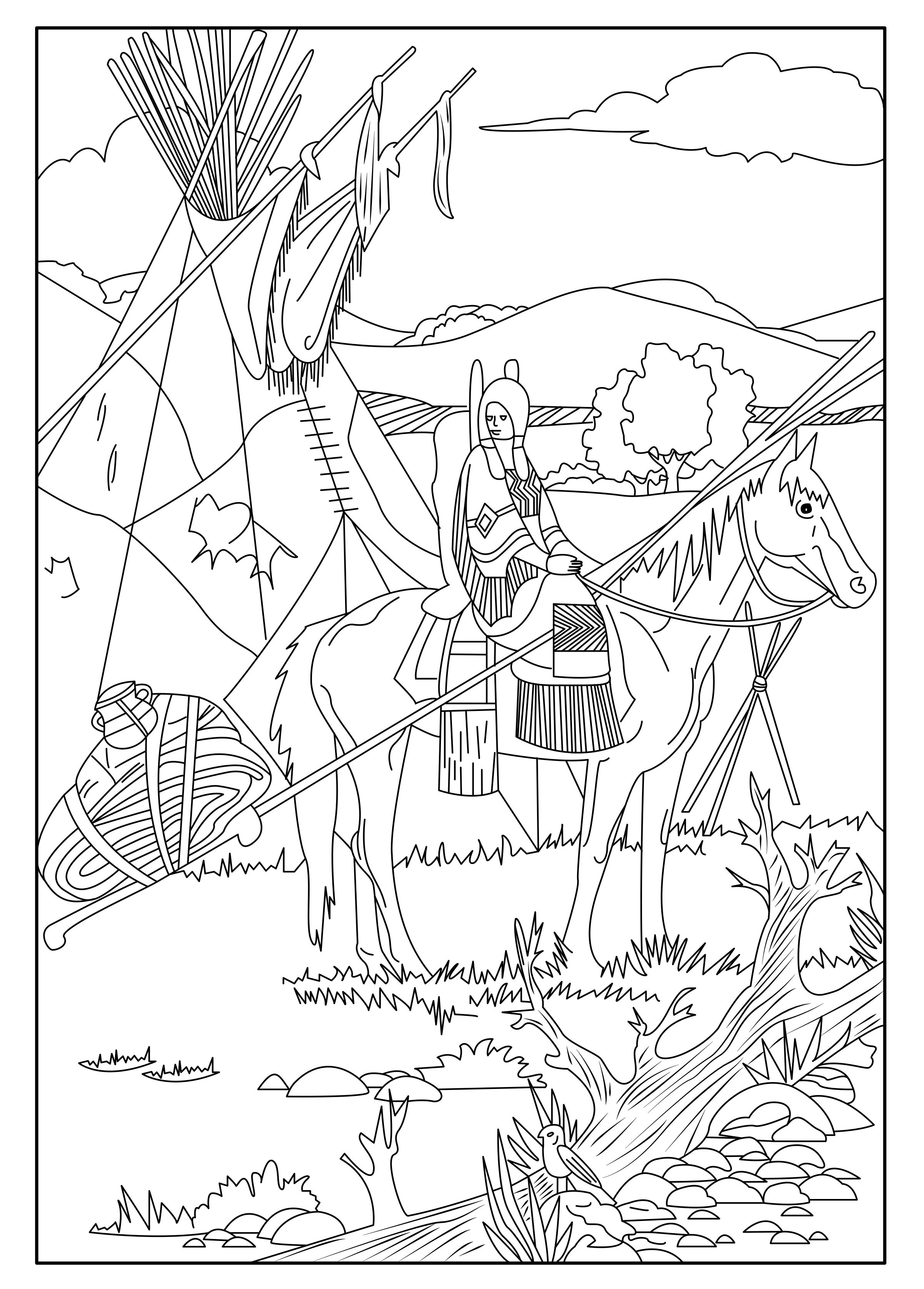 This coloring page show a native american on his horse