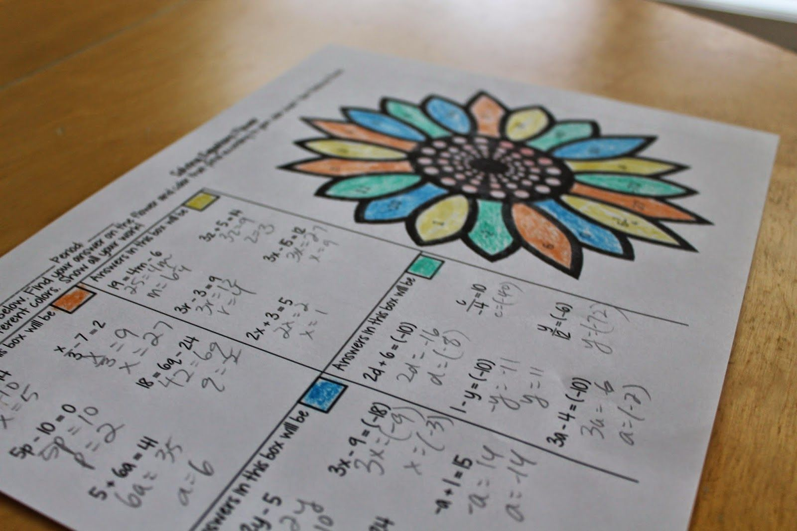 The Math Dyal Coloring In High School Practice Solving Two Step Equations With This Fun