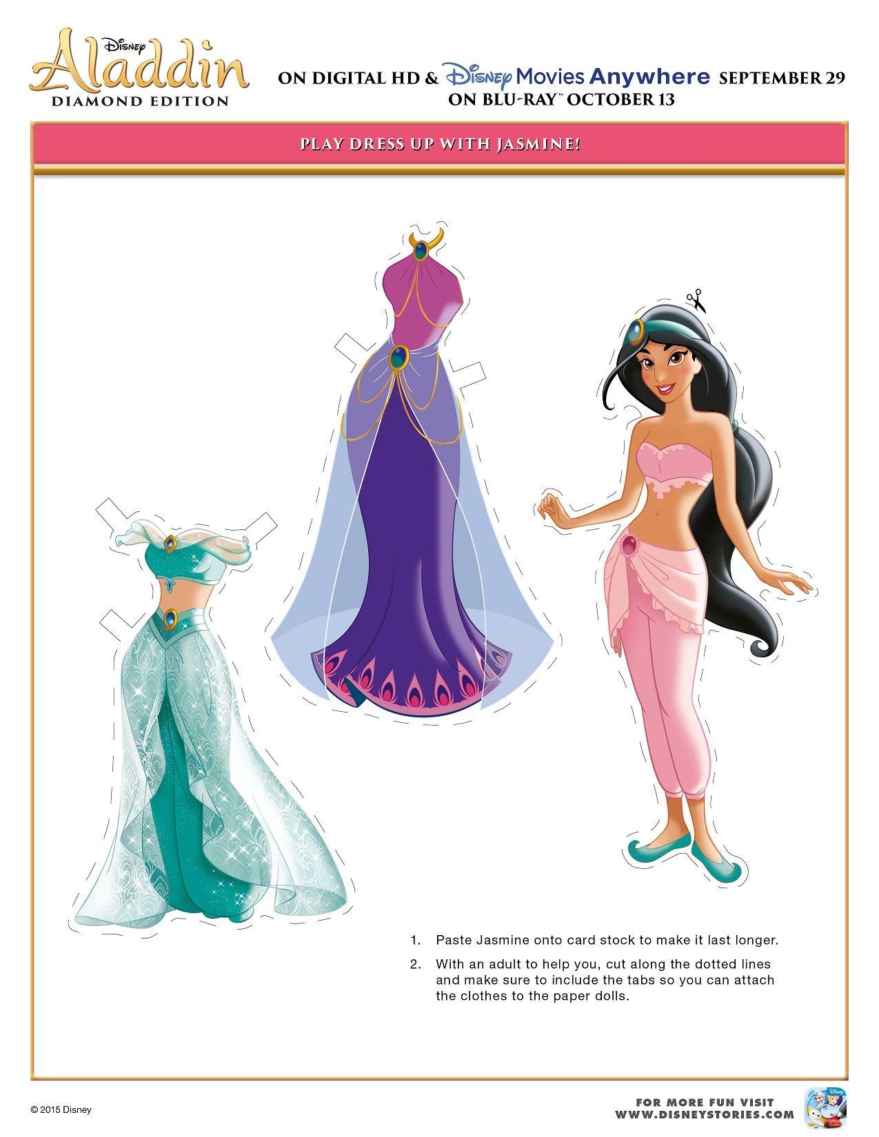 Free Printable Aladdin Activity Sheets Disney Aladdin Paper Cut Out Dress Up Jasmine Activity