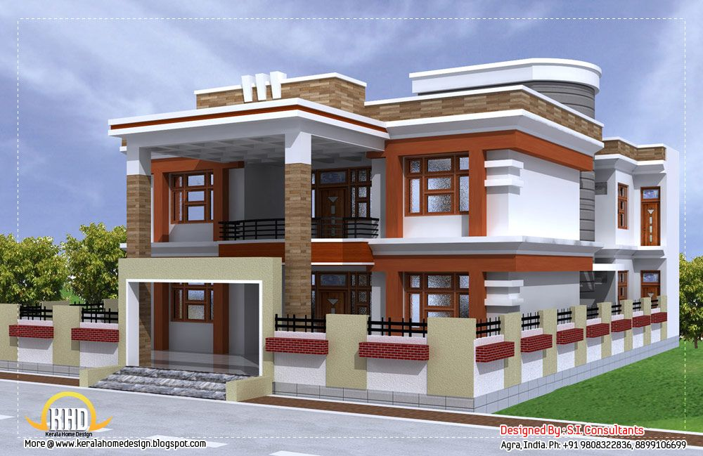 Sq Ft Beautiful Double Story House Plan Indian Home Decor Simple