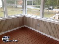 Screened porch with Eze-Breeze panels, vinyl bead board ...