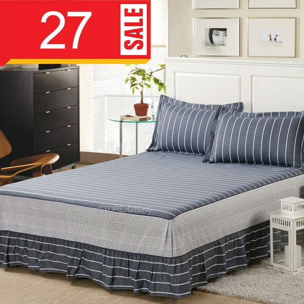 Gray Stripes Bed Skirt Queen King Size Bedding 100