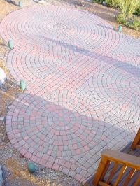 Circular pattern red brick paver patio in Northville ...