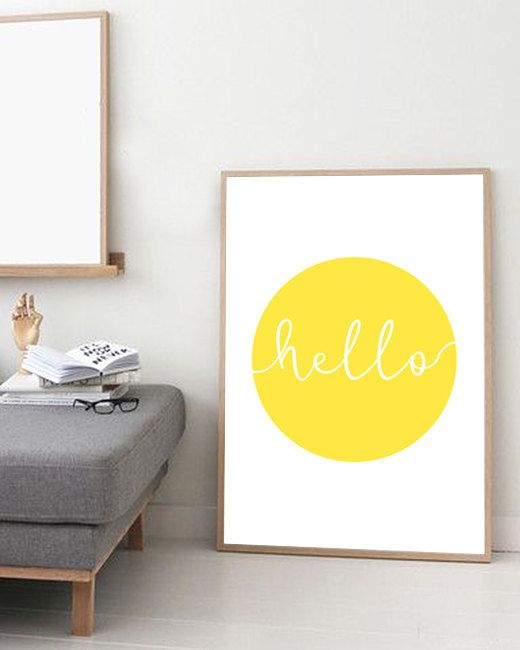Typography art print yellow wall hello motivational inspirational scandinavian poster also rh za pinterest