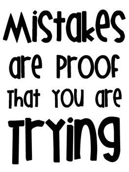 Inspirational Poster FREEBIE Mistakes are proof that you