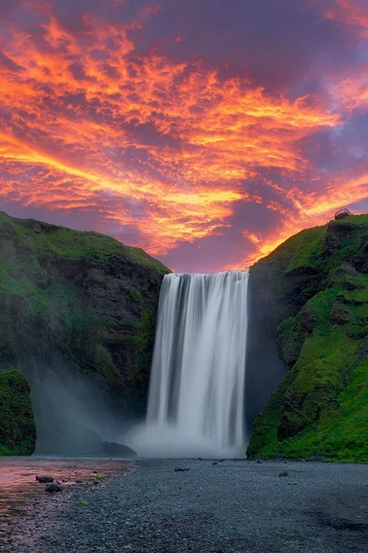 incredible waterfall sunset