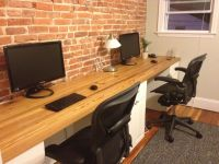 long desk. Cabinets/drawers on long maybe barn wood ...
