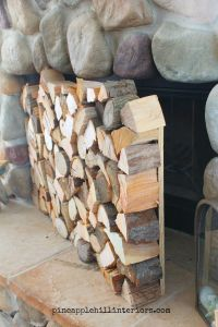 DIY, faux stacked logs fireplace facade, genius! | Home ...