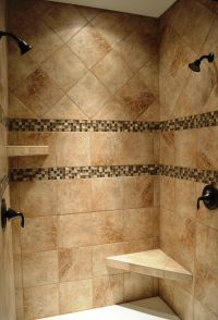 Dual head custom ceramic tile shower with Oil Rubbed ...