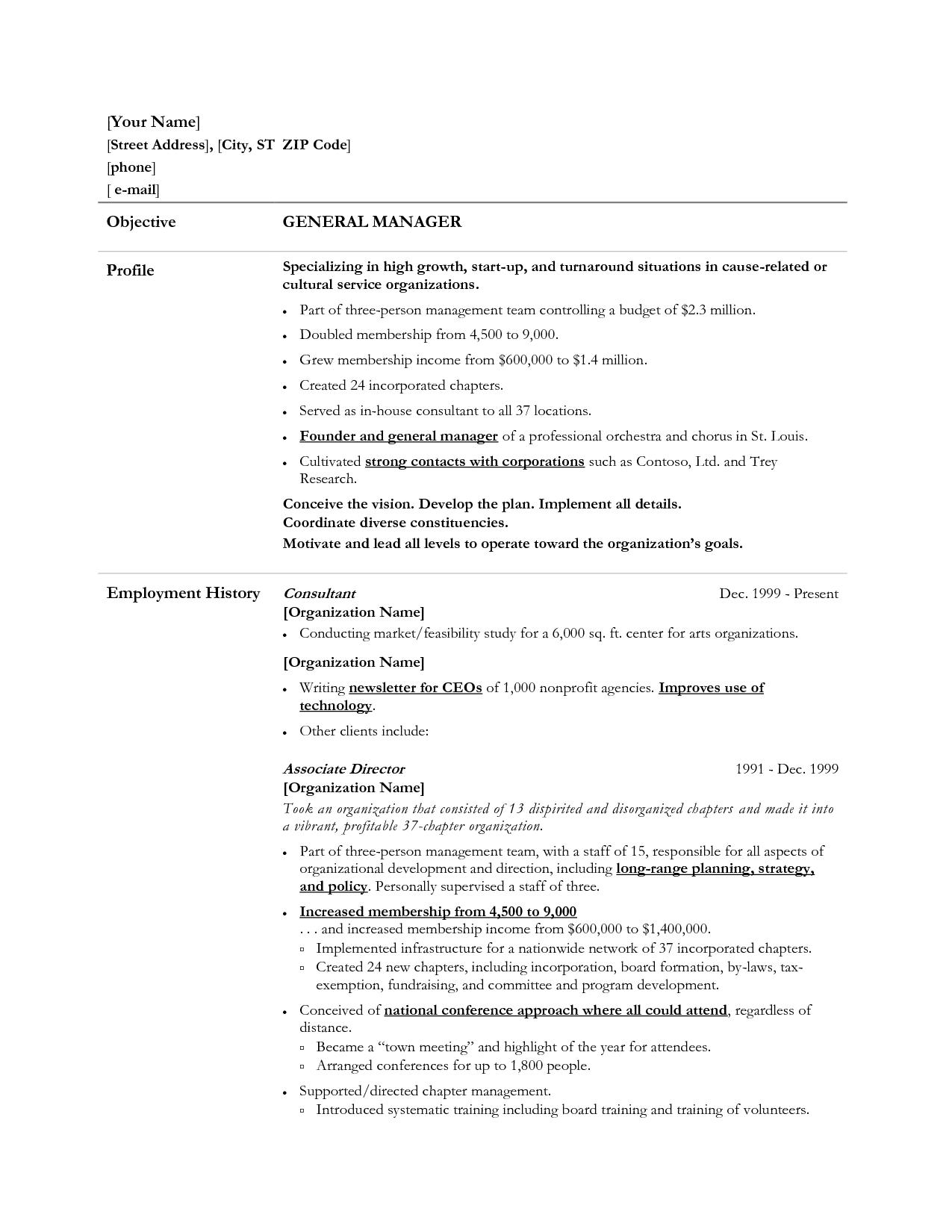 General Manager Resume Example Resumecareer Info
