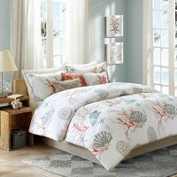 Coral, Seashells, Starfish, Beach CAL King Comforter Set ...