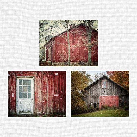 Farmhouse Decor Red Barn Picture Set Of 3 Red Barns Rustic Home