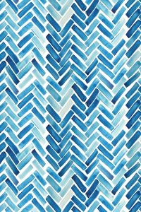 Blue watercolor herringbone design on fabric, wallpaper or ...